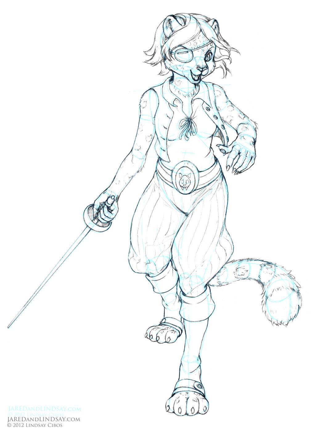 Sexy Anthropomorphic Cat Tan Fur Red Hair